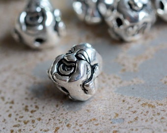 Happy Buddha Head Bead,Sterling Silver,Laughing Buddha Bead,Large,Double Sided Buddha Face,Smiling Buddha Bead,Fat Buddha Face Beads, One