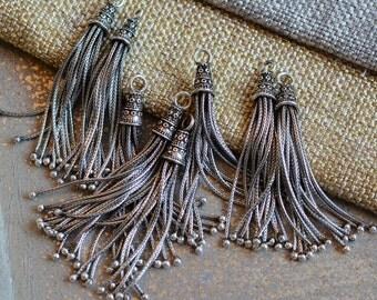 Tassel,Long Chain Tassel, Sterling Silver Tassel, Long Herringbone Chain Tassel,Jewelry Tassel,Earring Tassel,One, KP15-401