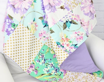 Lily's Lilac and Gold Baby Quilt
