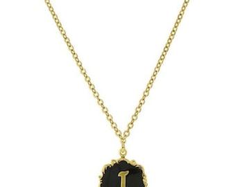 "Necklace I Letter Gold Tone Edged Black Enamel Initial ""I"" Pendant Necklace"