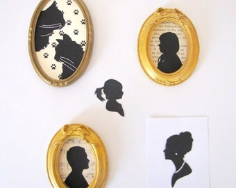 Customizable hand cut paper silhouette - vintage golden frame - different backgrounds available - portrait - paper cut profile