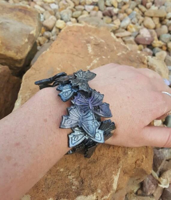 Iridescent Butterfly Polymer Clay Cuff Bracelet