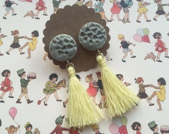 Grey Faux Stone Polymer Clay Earrings with Pastel Yellow Tassels