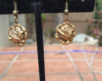 Small brass rose flower earrings