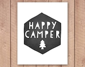Happy Camper Printable Art Print, Chalkboard Nursery Print, Camping Poster, Outdoorsy Wall Art, Chalkboard Poster, Instant Download