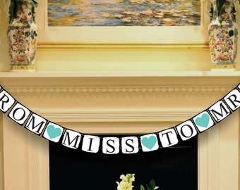 Wedding Banner Decoration - From Miss To Mrs Banner  - Bridal Shower Banner - Wedding Garland - Sign - Photo Booth Prop - Photo Prop