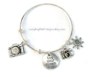 LIVE YOUR DREAM Photographer's Adjustable Wire charm bangle, Tibetan Silver charm Bracelet,One Size Fits Most
