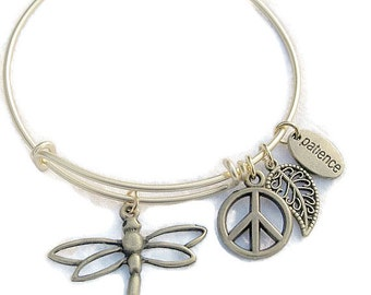 BRONZE DRAGONFLY PEACE Sign, Gold Bangle Peace Charm,Adjustable Wire bangle,Alex and Ani Inspired,Bronze charm Bracelet,One Size Fits Most