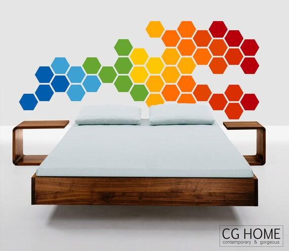 RAINBOW bedroom wall decal HEADBOARD honeycomb HEXAGON sticker CGhome