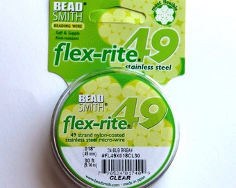 """Flex-rite  Beading Wire, 49, Clear, .018"""" 30 ft. Premium Quality Stainless Steel Beading Wire,  From Bead Smith"""
