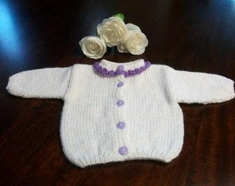 Purple and White Baby Cardigan, White Baby Sweater, Purple Baby Sweater, Newborn White and Purple Cardigan