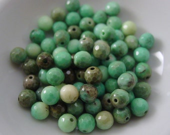 Moss Green Opal Faceted 6 mm Round - 10 Beads #3724R