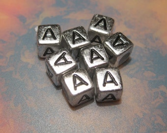 "50pcs Antique Silver Alphabet Letter ""A"" Acrylic Cube Spacer Beads 6x6mm"