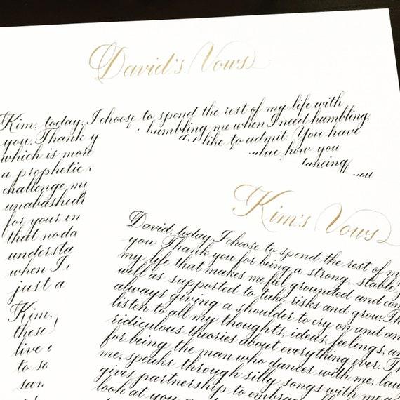 Custom calligraphy vows handwritten anniversary gift