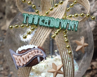 Football Christmas Ornament - Touchdown, Football & Stars
