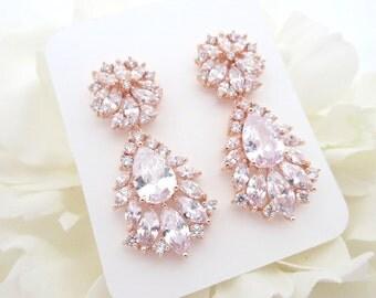 Rose Gold Bridal earrings, Crystal Wedding earrings, Bridal jewelry, Wedding jewelry, Teardrop earrings, Vintage style earrings, Bridesmaid
