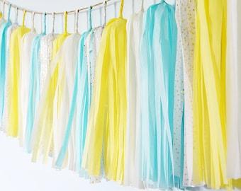 Yellow Baby Blue Tassel Garland, Light Blue Garland, Yellow Garland, Blue Tassel Garland, Yellow Nursery, Blue Nursery,Blue Cake Smash