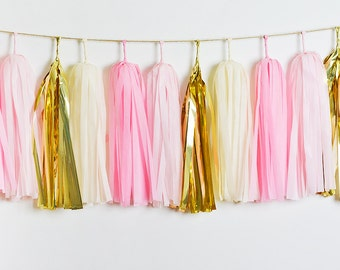Pink and Gold Tassel Garland, Blush Tassel Garland, Pink Tassel Garland, Gold Tassel Garland, Pink Baby Shower, Pink Wedding, Cake Smash