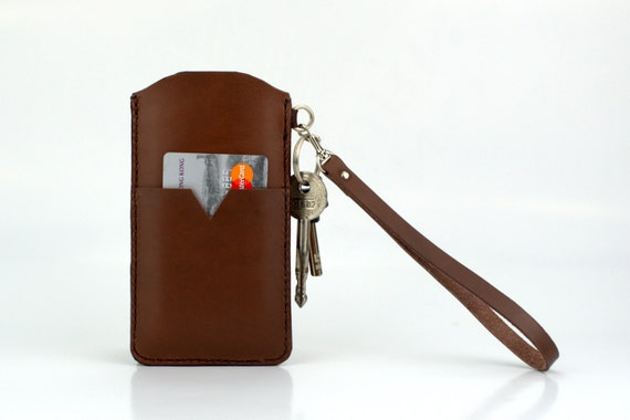 Leather iPhone 6 wristlet iPhone 6 plus wallet case iPhone 5s sleeve Brown- Clutch Leather Wristlet