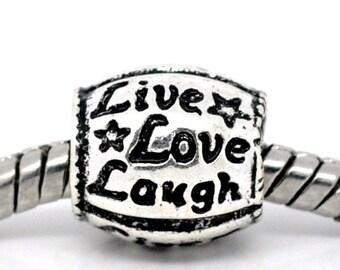 Ten Antique Silver Live Love Laugh Euro Spacer