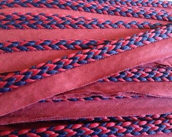 Navy Blue and Burgundy 5/16 Lip Cord by the Yard