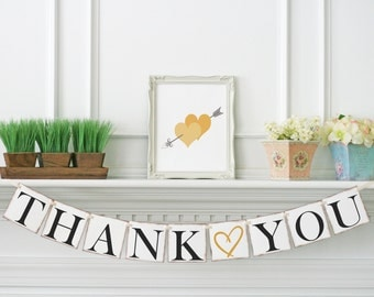 Gold Wedding Decor, Thank you Banner, Wedding thank you garland