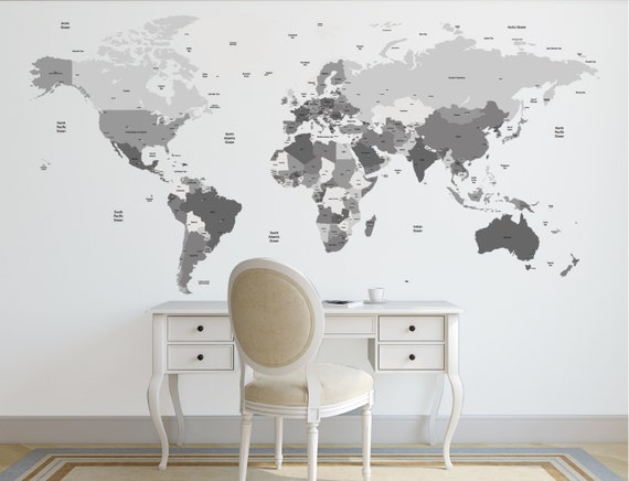 World map with country names contemporary wall decal sticker 28 world gumiabroncs Images