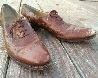 Men's Oxford Leather Brogue Wingtip Dress Shoe