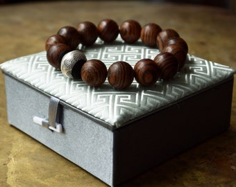 Mens Buddhist bracelet Large wood bead bracelet Yoga bracelet Minimal unisex meditation mala bracelet Hipster style Thai sterling silver
