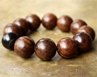 Mens bracelets, Surfer jewelry, Sea glass bracelet, Brown wood beads, Big wood bead bracelet, Hipster style, Mala bracelet, faded brown