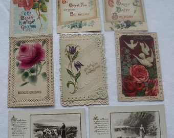 V3) 8 Vintage Birthday Postcards - 3 wth Pierced Edges, 1 Opens, All Wonderful!!!