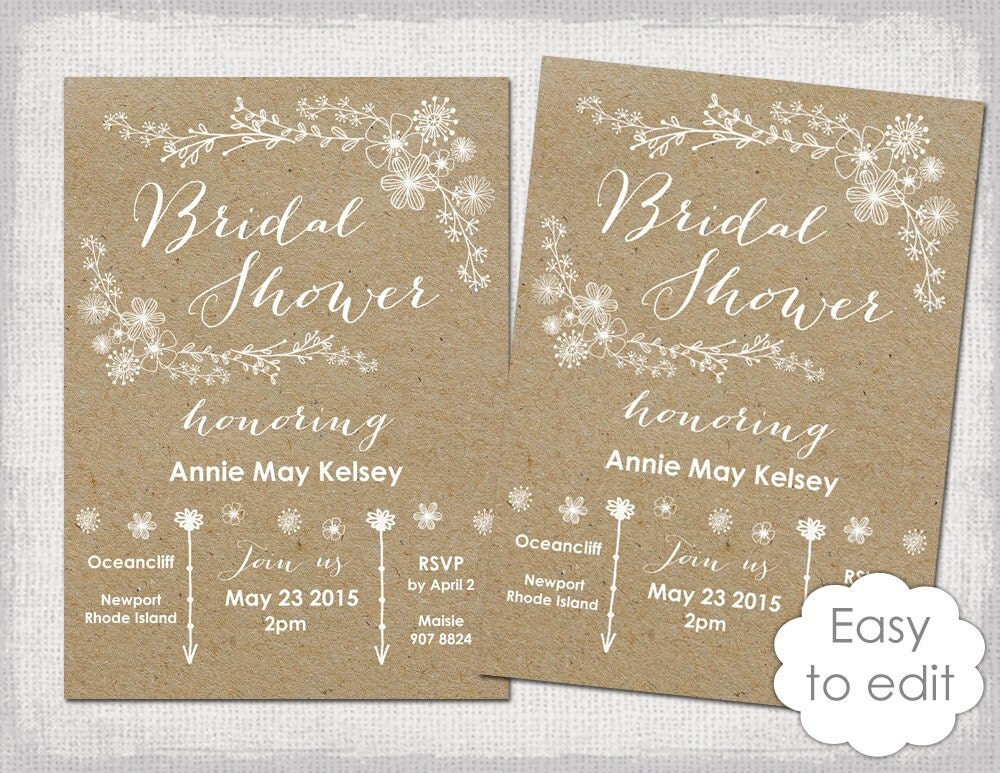 Wedding Shower Invitations Free: Bridal Shower Invitation Template Rustic Printable Templates