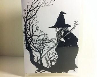 Gandalf enters hobbiton tolkien inspiered greeting card