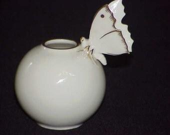 Vintage Marked Germany Hutschenreuther Selb Kunstabeilung Porcelain ~ BUTTERFLY VASE