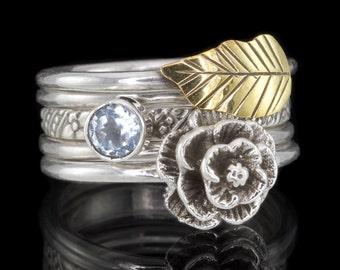 Set of 5 Stack Rings, Flower, Leaf, Aquamarine - 925 Sterling Silver Stacking Rings - Size US 6 1/4 (UK, Aus. M) #B307