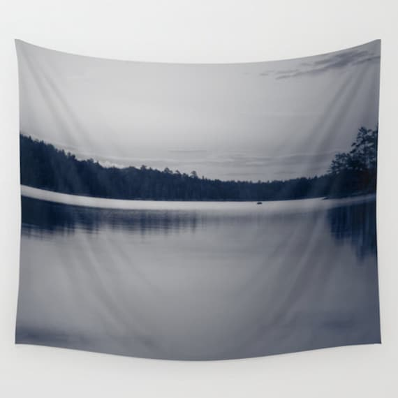 Wall Tapestry, Black and White, Wall Hanging, Nature Photography, Lake Images, Boundary Waters, Minnesota Picture, Indoor Art, Outdoor Decor