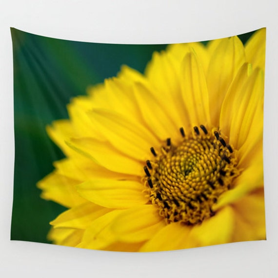 Wall Tapestry, Green and Yellow, Bright Color, Daisy Flower, Wall Hanging, Extra Large Art, Indoor Home Decor, Outdoor Fine Art, Macro Photo