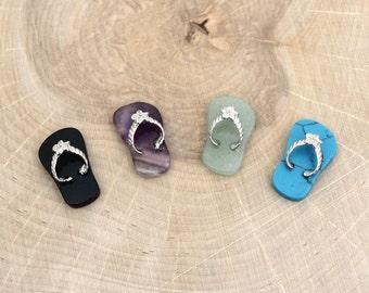 Mini Stone Flip Flop Pendants - Onyx, Aventurine, Amethyst, Turquoise Howlite