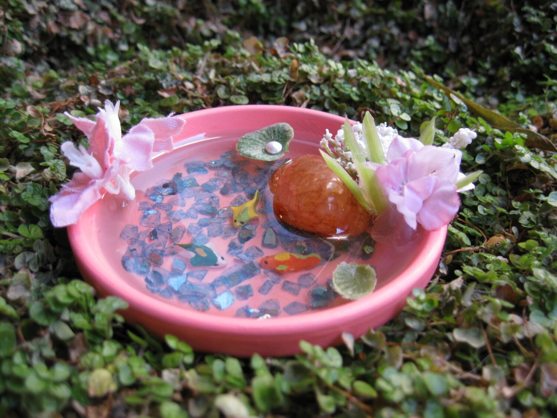 Fairy garden koi pond miniature koi pond fairy house cottage for Miniature fish pond