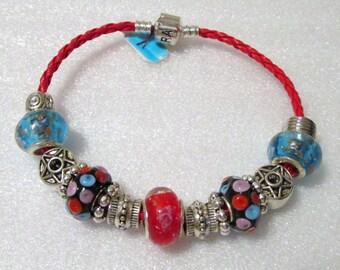 763 - Black Red Teal Bracelet