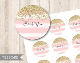 Pink and Gold Thank You Tags, Faux Gold Glitter Favor Tag, Watercolor Thank You Stickers, Cupcake Toppers, Printable Tags, INSTANT DOWNLOAD
