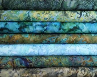 1/2 Yard Fabric Bundle of Hoffman Batiks.  7 Different Fabrics