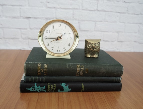 Vintage Westclox Baby Ben Wind Up Alarm Clock White And Gold