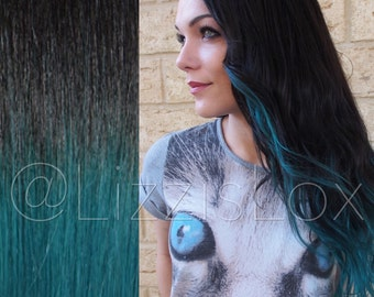 """22"""" Tape-in Extensions Black to Teal 100% REMY Human Hair AAA GRADE Blue Green Ombre Dip Dye Balayage 100 / 150 / 200 grams double drawn"""