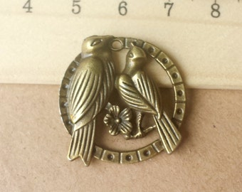 10 pcs 26mm Antique Bronze Brass Vintage style lovely two Birds and flower Charm Pendant pendantshs ABb0021