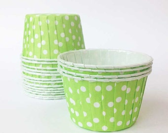 20 Green Lime Candy Cups Polka Dot Nut Cups Ice Cream Cups Spotty Cupcake Liners Fruit Cups Portion Cups Souffle Oven Safe Baking Supply