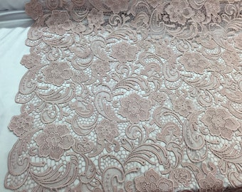 Blush pink flower guipure embroider lace. Prom/wedding/bridal/nightgown/tablecloths fabric.