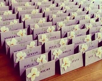 40 Handmade wedding name cards / White Orchid Wedding place cards / Wedding name cards / Spring/summer wedding table decoration / UK
