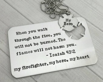 Firefighter Wallet Insert with maltese cross Necklace  - Hand Stamped Wallet Insert - firefighter  gift - Personalized Card - Custom Card