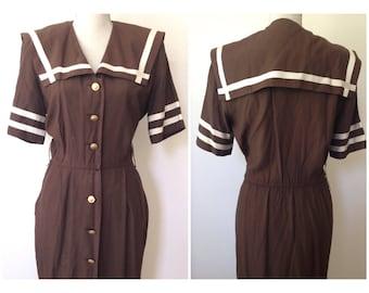 SALE M brown sailor collar dress